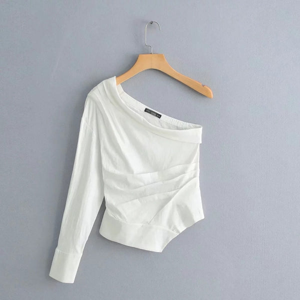 Women White One Shoulder Shirts Spring-Summer Cotton-Linen Blouse Chic Girls Casual Street-wear Tops