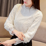 Woman Blouses Lace Chiffon Shirt Plus Size Tops Long Sleeve Clothes Blouse Shirts Blouse
