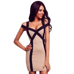 Women Pencil Hollow Out Slim Dresses Skinny Cut Off Patchwork Mini Bodycon Party Beach Dress