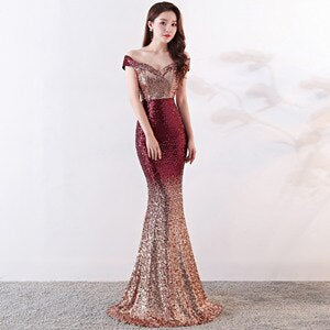 Sequin Maxi Dress Women Evening Party Dress Slash Neck Elegant Wedding Vestido