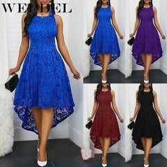 Women Dress Loose Sleeveless Plus Size Summer Lace O Neck Long Casual High Waist Dresses