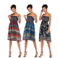Summer Beach Dresses Boho Women Knee Dress Wrapped Chest Floral Strapless Dress Vestidos