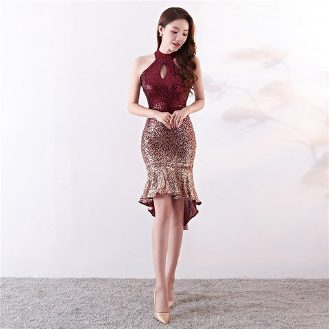 Sequin Halter Hollow Out Back Asymmetrical Mermaid Night Club Wear Dress Party Dresses Evening