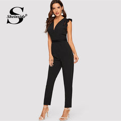 Black Deep V Neck Ruffle Jumpsuit Women Summer Mid Waist Office Solid Tapered Jumpsuit