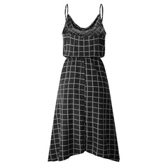 Summer Casual Sleeveless Plaid Dress Vintage Loose Beach Lace Up High Waist Long Dresses Vestidos