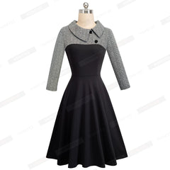 Vintage Patchwork Autumn Casual Skater Dress Buttons Turn-Down Collar Office Dress