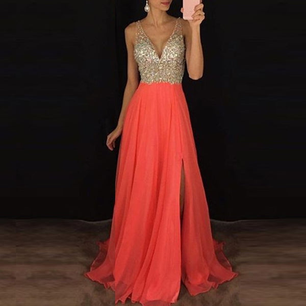 Women Dress Sequined Prom Ball Gown V Neck Formal Dress Evening Party Maxi Dress