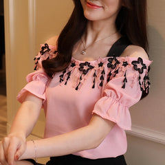 Summer Sweet Pink Chiffon Women Blouse Shirt Short Sleeve Tops Slash Neck
