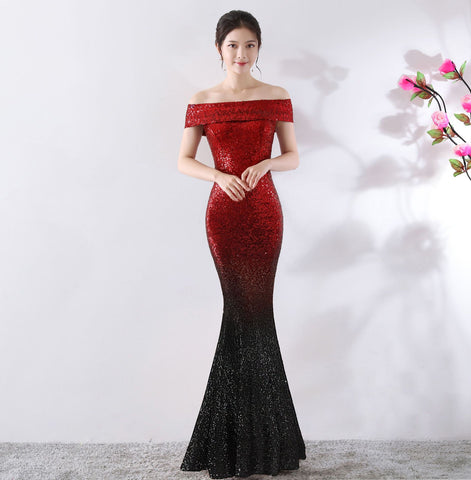 Empire Off Shoulder Autumn Ukraine Banquet, Birthday Party, Slim Dress, Host, Nightclub, Long Dress