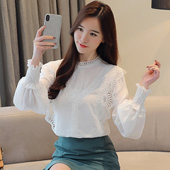 Blouse White Hollow Lace Chiffon Shirt Long Sleeve Womens Tops Women Shirt