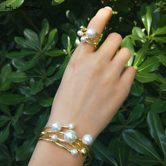 Multi-layer Hollow Pearl Opening Gold Metal Ring Bracelet Bangle Party Wedding Jewelry