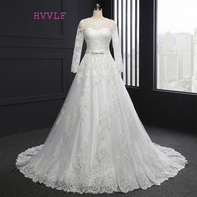 Muslim Wedding Dresses A-line Long Sleeves Appliques Lace Vintage ...