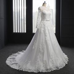 Muslim Wedding Dresses A-line Long Sleeves Appliques Lace Vintage Wedding Gown Bridal Dresses