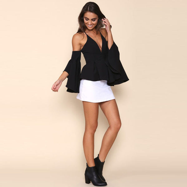 Black Women Blouse Off Shoulder V-Neck Flare Sleeve Backless Tops Cross Straps Punk Casual Slim Blouse