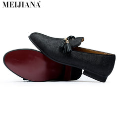 Handmade Metal Gold Tassel Loafers Red Bottom Gentleman Luxury Stress Shoes Men Shoes