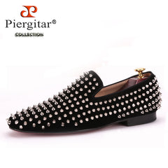 Handmade Men Black Nubuck Leather Shoes Silver Rivet CL Loafers Red Bottom Flats Shoes