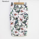 Summer Pencil Skirt Women High Waist Green Skirts Vintage Bodycon Floral Print Midi Skirt