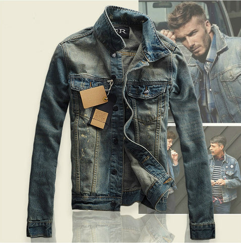 Hi-Street Men Ripped jeans Jackets washed patchwork Distressed Denim Man  Vintage Jacket