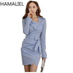 Korean Spring Office Dress Striped Bow Turn Down Collar Bodycon Pencil Work Dress
