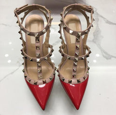 High Heels Sandals Red Summer Women Platform Pumps Point Toe Rivets Shoes Buckle Studded Stiletto