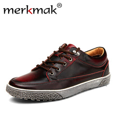 Men Vintage Genuine Leather Shoes Washing Distressed Flat Shoes Lace Up Casual Footwear
