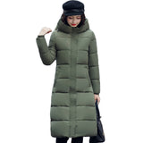 High quality 2018 stand collar coat women winter long hooded with a hat