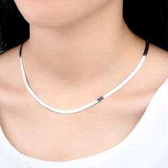 Ladies Men Couple Temperament Necklace Fine Snake Flat Blade Necklace Retro Silver Jewelry