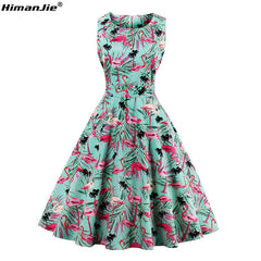 HimanJie Plus Size Retro Dress Vintage Rockabilly Swing Feminine Pattern Party Dresses