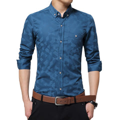Casual Men Shirt Long Sleeve Jacquard Weave Slim Fit Shirt Men Cotton Shirts
