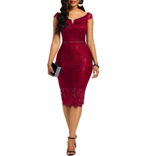 Summer Evening Party Off Shoulder V Neck Hollow Lace Bodycon Midi Dress