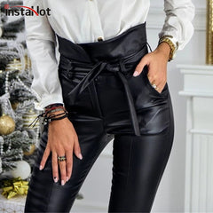 Gold Black Belt High Waist Pencil Pant Women Faux Leather PU Sashes Long Trousers Casual