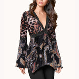 Irregular Women Blouses Tunic Long Sleeve Deep V Office Shirt Leopard Blouse Casual Tops Plus Size