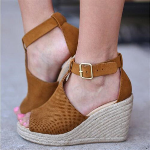 Women Flock High Ankle Outdoor Sandals Peep Toe Casual Shoes Suede High Wedges