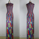 JRRY Vintage Sleeveless Plaid Long Print Dresses Turtleneck Maxi Dress Vestidos
