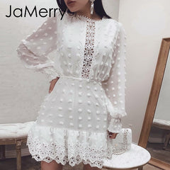 Vintage White Lace Short Dress Women Long Puff Sleeve Dresses Dots Slim Party Mini Dress