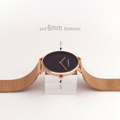 Quartz Black Minimalist Watch Women Rose Gold Thin Mesh Stainless Steel Magnet Waterproof