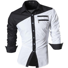 Men Dress Casual Shirts Button Down Long Sleeve Slim Fit Designer Tattoo Lion White