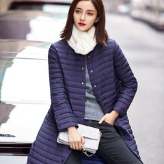 Ultra Light Down Women Long Puffer Coat Winter Cotton Stand Collar Lightweight Jacket