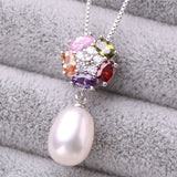 Jewelry Sets Natural Freshwater Pearl Jewelry Accessories Silver Pendant Necklace Stud Earrings Ring Sets