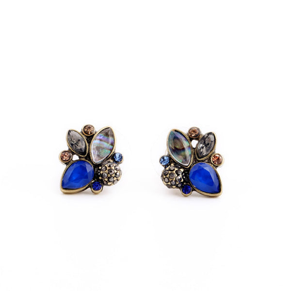 Elegant Rhinestone Earrings Multi Color Retro Pendientes Stud Earrings Jewelry