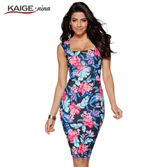 Women Bohemian Printed Sleeveless Tall Waist Party Led Tight Knee-length Summer Dress