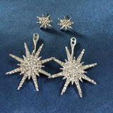 Geometric Luxury Double Star Snowflake Earrings Women Classic Jewelry Rose Gold Silver Black