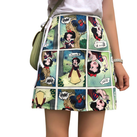 Korean Style Skirts Retro Comic Print High Waist Wild A Line Skirt Bag Hip Mini Skirt