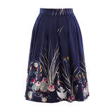 Retro Floral Print Summer Skirts High Waist 50s Vintage Midi Skirt Slim Big Swing Women Skirt