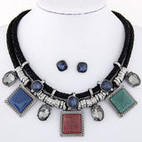 Collier Geometric Necklaces Pendants Jewelry Sets Crystal Resin Collares Statement Collar Jewelry