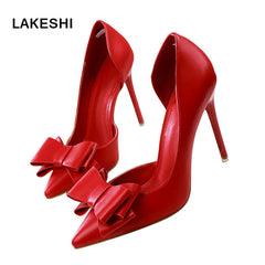LAKESHI Women Pumps Wedding High Heels Shoes Sweet Stilettos Bowtie Pointed Toe Shoes