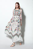 Classic Autumn Winter Runway Dress Women Long Sleeve Gauze Retro Floral Embroidery Long Dress