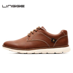 LINGGE Men Shoes Warm Fur Winter Shoes Men Boots Faux Leather Lace Up Casual Shoes