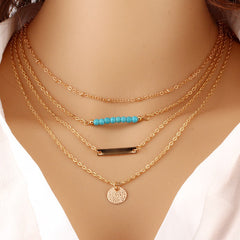 Crystal Bead Round Bar Gold Chain Necklace Multi Layer Statement Necklaces Pendants Summer Jewelry