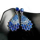 Silver Gold Drop Chandelier Earrings Luxury Austrian Big Crystal Rhinestone Vintage Earrings